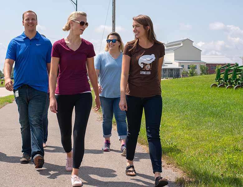 Organic Valley employees taking a walk on the walking paths
