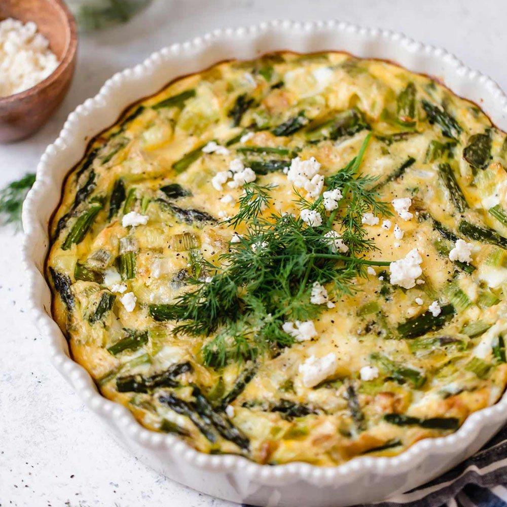 Crustless Asparagus, Leek & Feta Quiche