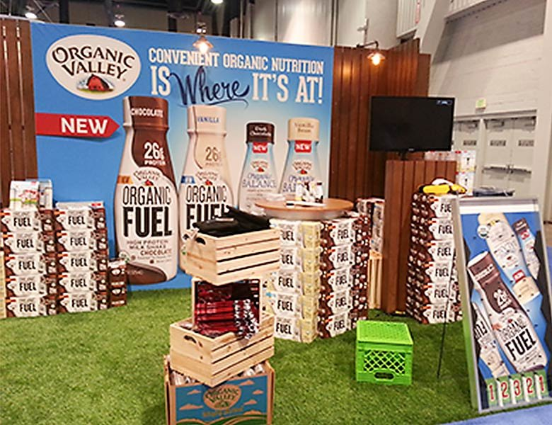 A trade show set up for Organic Valley Fuel Protein Shakes.